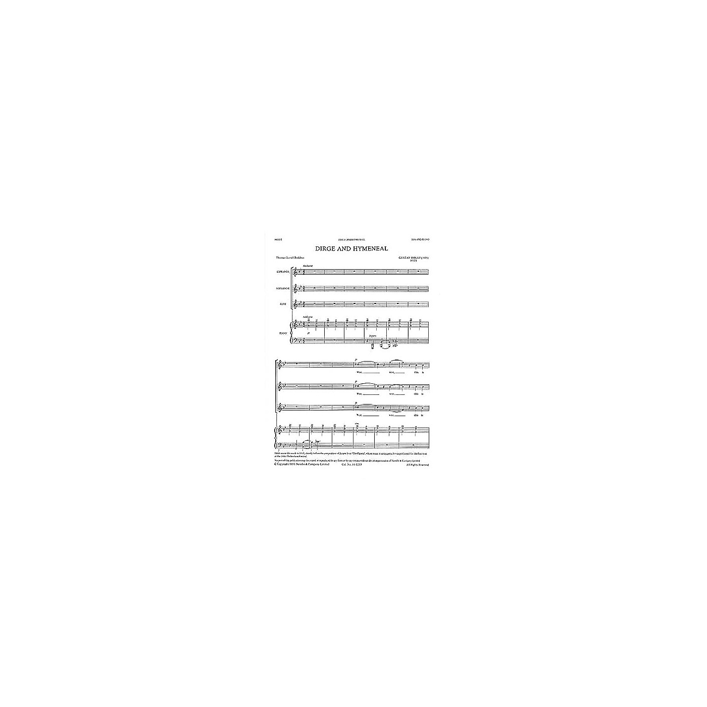 Novello Dirge and Hymeneal SSA Composed by Gustav Holst thumbnail