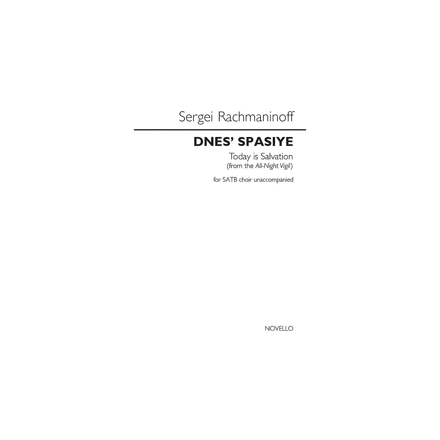 Novello Dnes' Spasiye (Today Is Salvation) (from the All-Night Vigil) SATB a cappella by Sergei Rachmaninoff thumbnail
