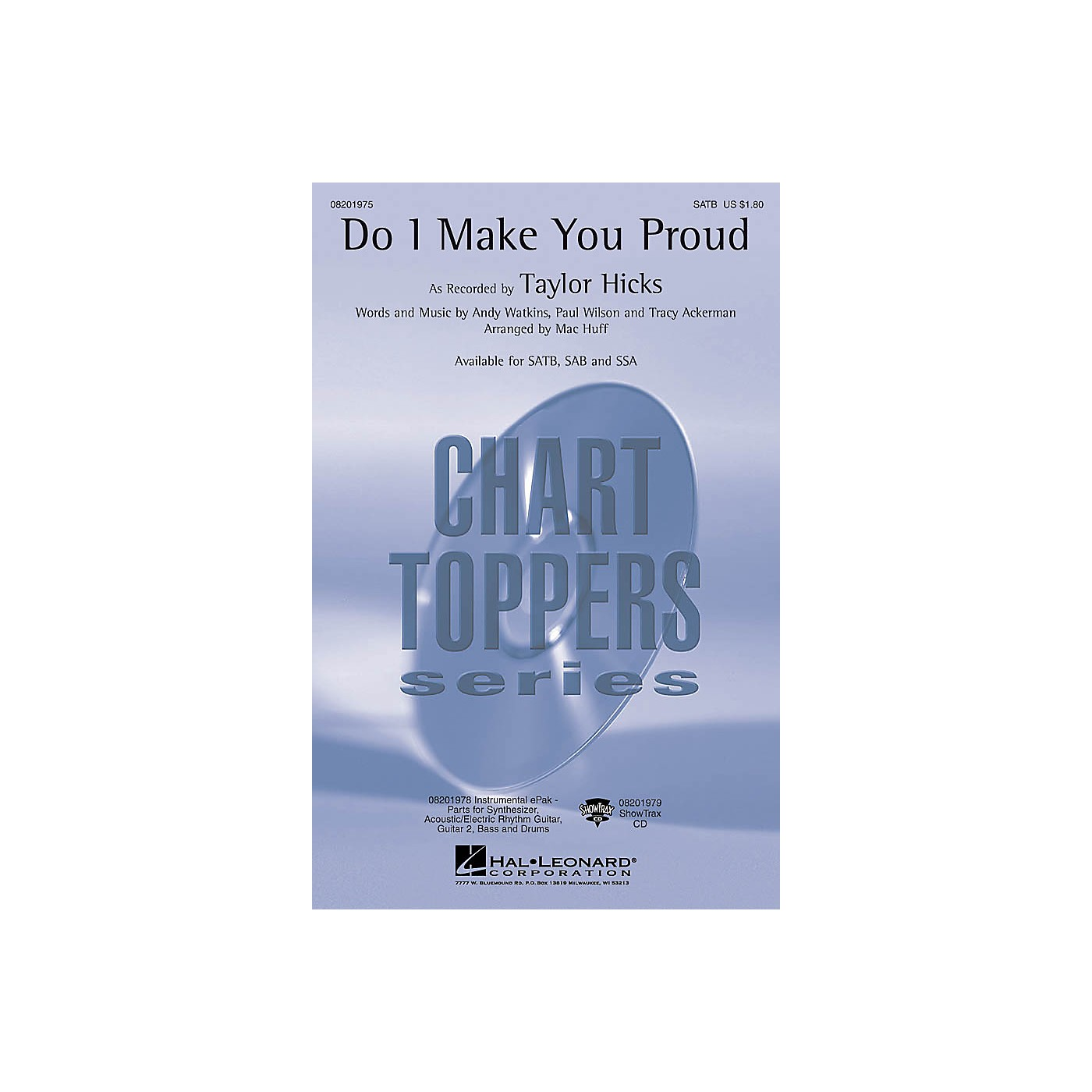 Hal Leonard Do I Make You Proud ShowTrax CD by Taylor Hicks Arranged by Mac Huff thumbnail