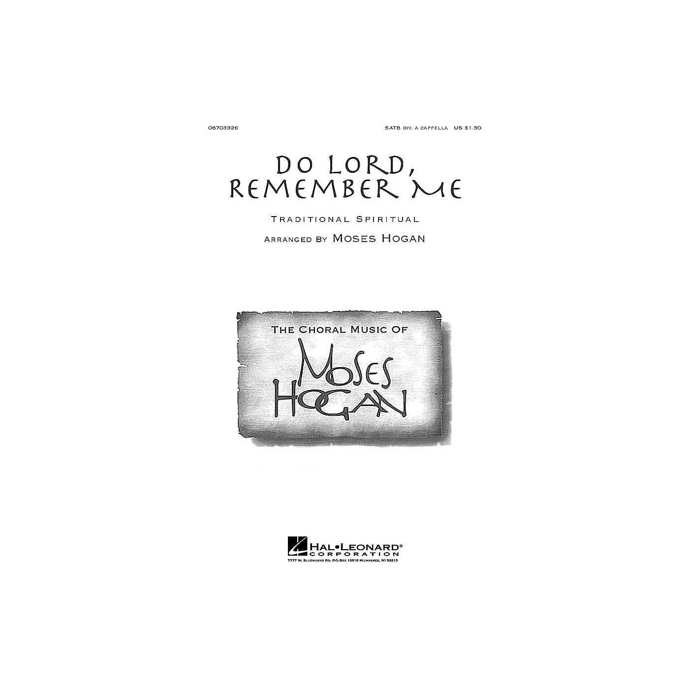 Hal Leonard Do Lord, Remember Me SATB DV A Cappella arranged by Moses Hogan thumbnail