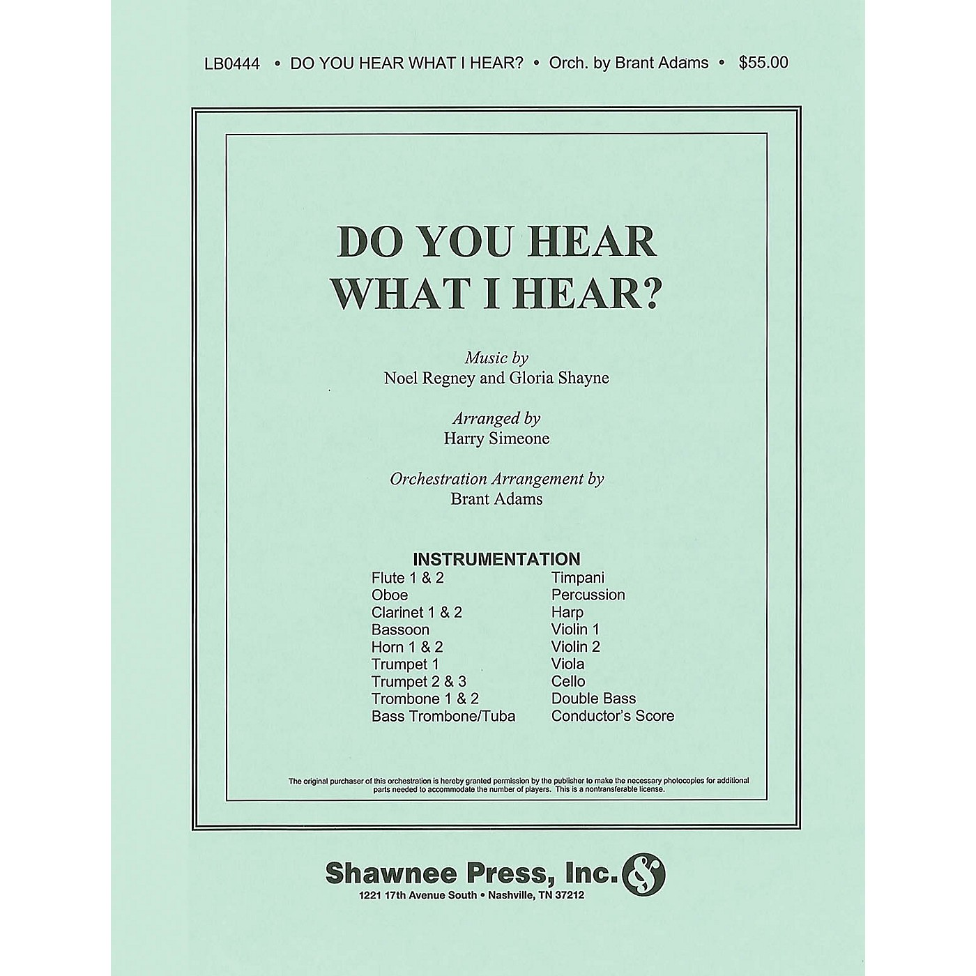 Shawnee Press Do You Hear What I Hear? (Orchestration) Score & Parts arranged by Harry Simeone thumbnail