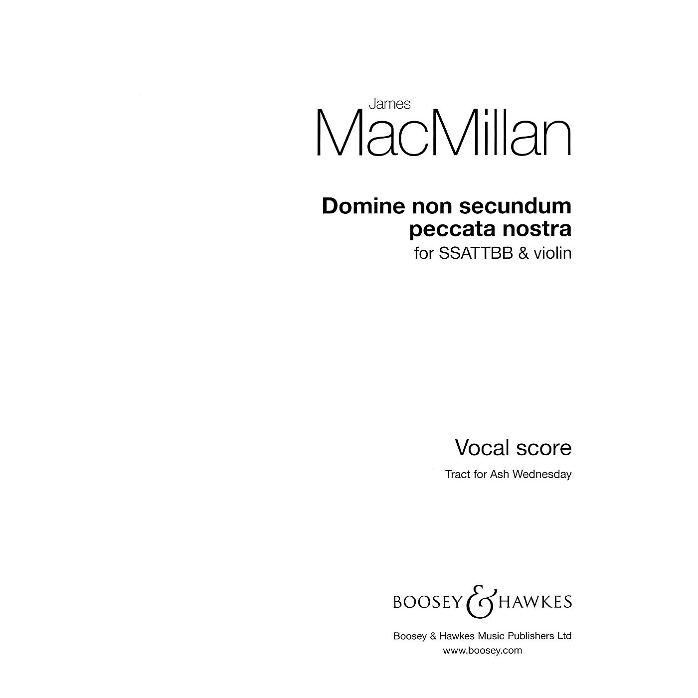 Boosey and Hawkes Domine non secundum peccata nostra composed by James MacMillan thumbnail