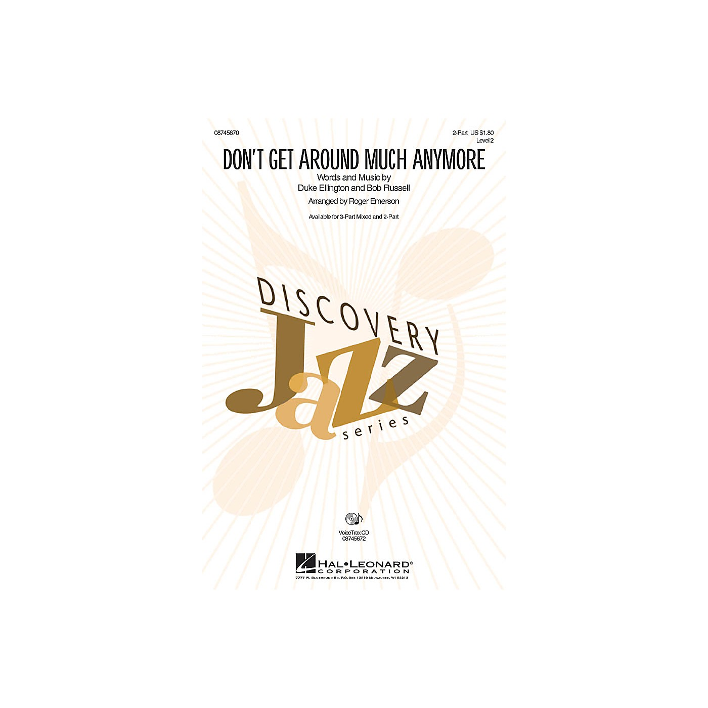 Hal Leonard Don't Get Around Much Anymore 2-Part arranged by Roger Emerson thumbnail