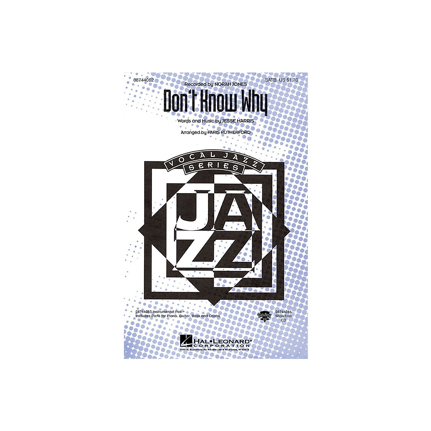 Hal Leonard Don't Know Why SATB by Norah Jones arranged by Paris Rutherford thumbnail