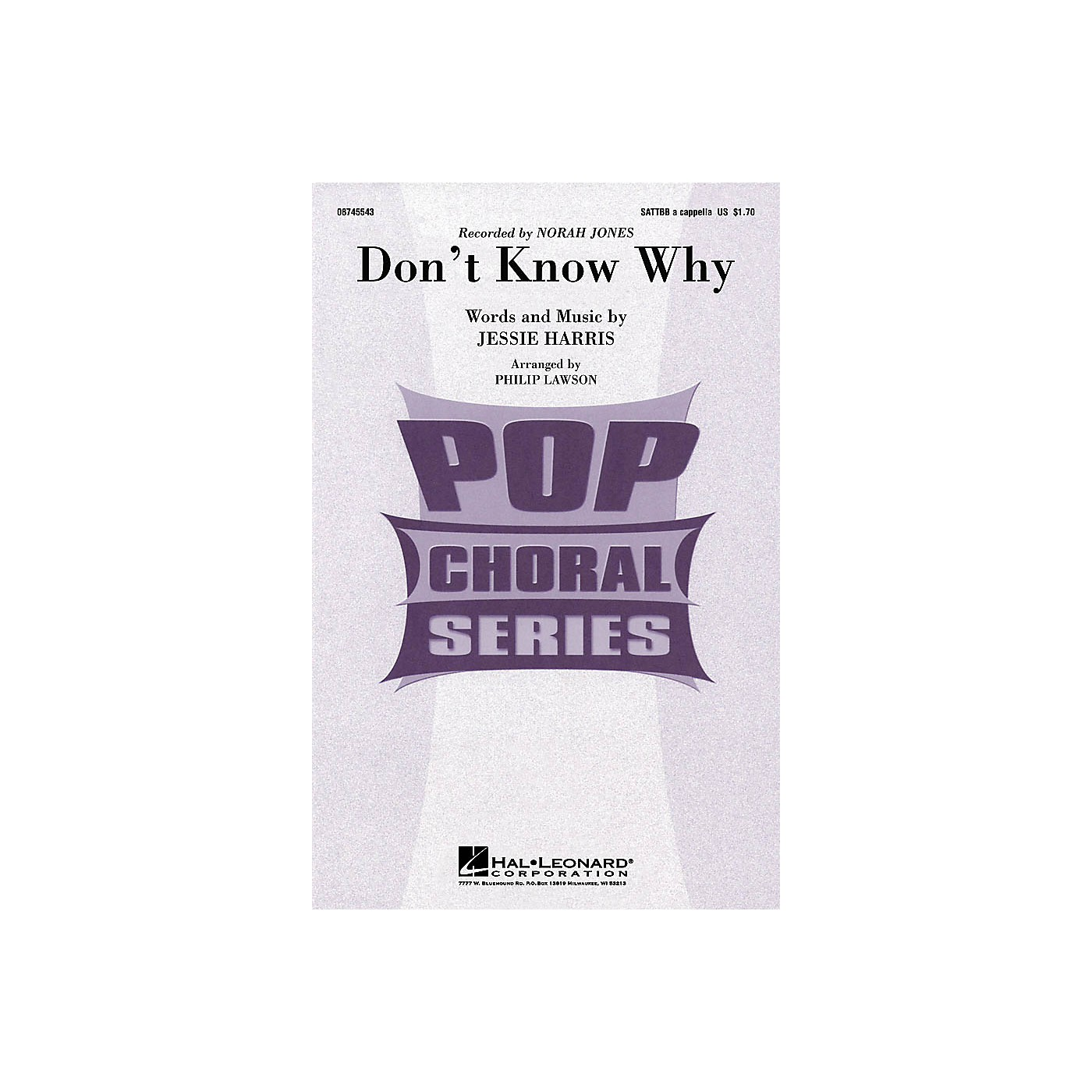 Hal Leonard Don't Know Why SATTBB A Cappella by Norah Jones arranged by Philip Lawson thumbnail