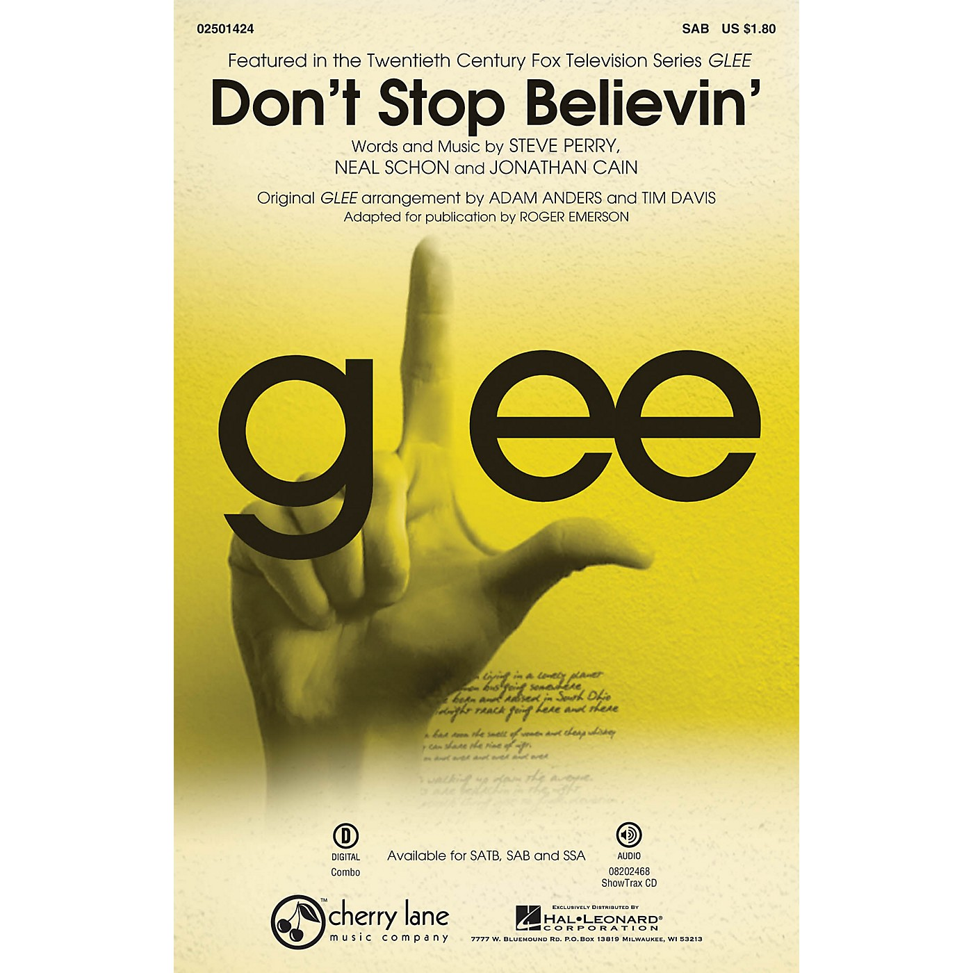 Cherry Lane Don't Stop Believin' (from Glee) SAB by Journey arranged by Roger Emerson thumbnail
