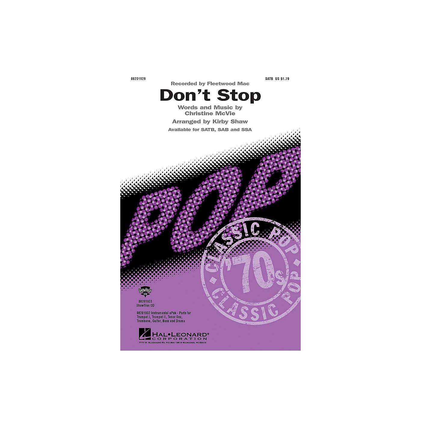 Hal Leonard Don't Stop SAB by Fleetwood Mac Arranged by Kirby Shaw thumbnail