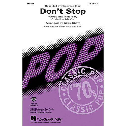 Hal Leonard Don't Stop SATB by Fleetwood Mac arranged by Kirby Shaw thumbnail