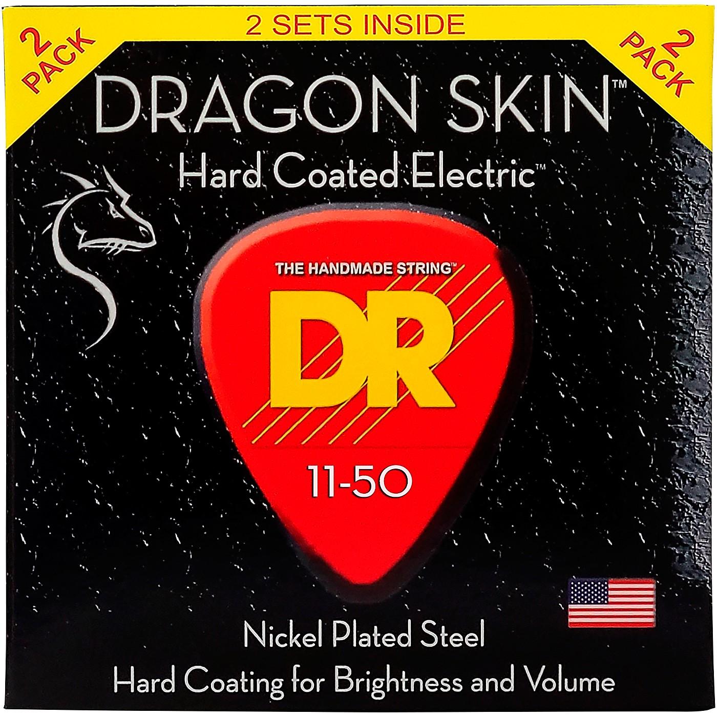 DR Strings Dragon Skin (2 Pack) Hard Coated Electric Guitar Strings (11-50) thumbnail