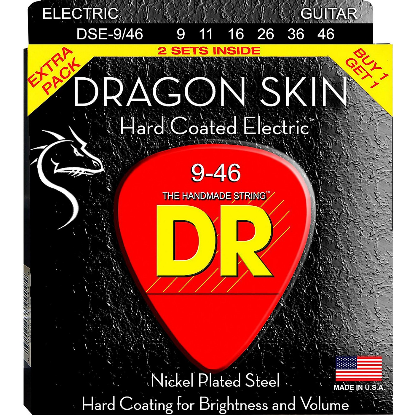 DR Strings Dragon Skin (2 Pack) Hard Coated Electric Guitar Strings (9-46) thumbnail