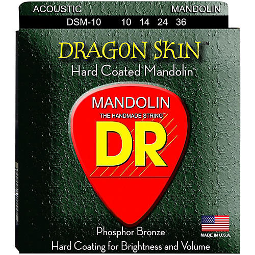 DR Strings Dragon Skin Clear Coated Mandolin Strings (10-14-24-36) thumbnail