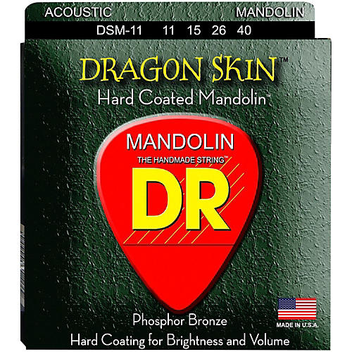 DR Strings Dragon Skin Clear Coated Mandolin Strings (11-15-26-40) thumbnail