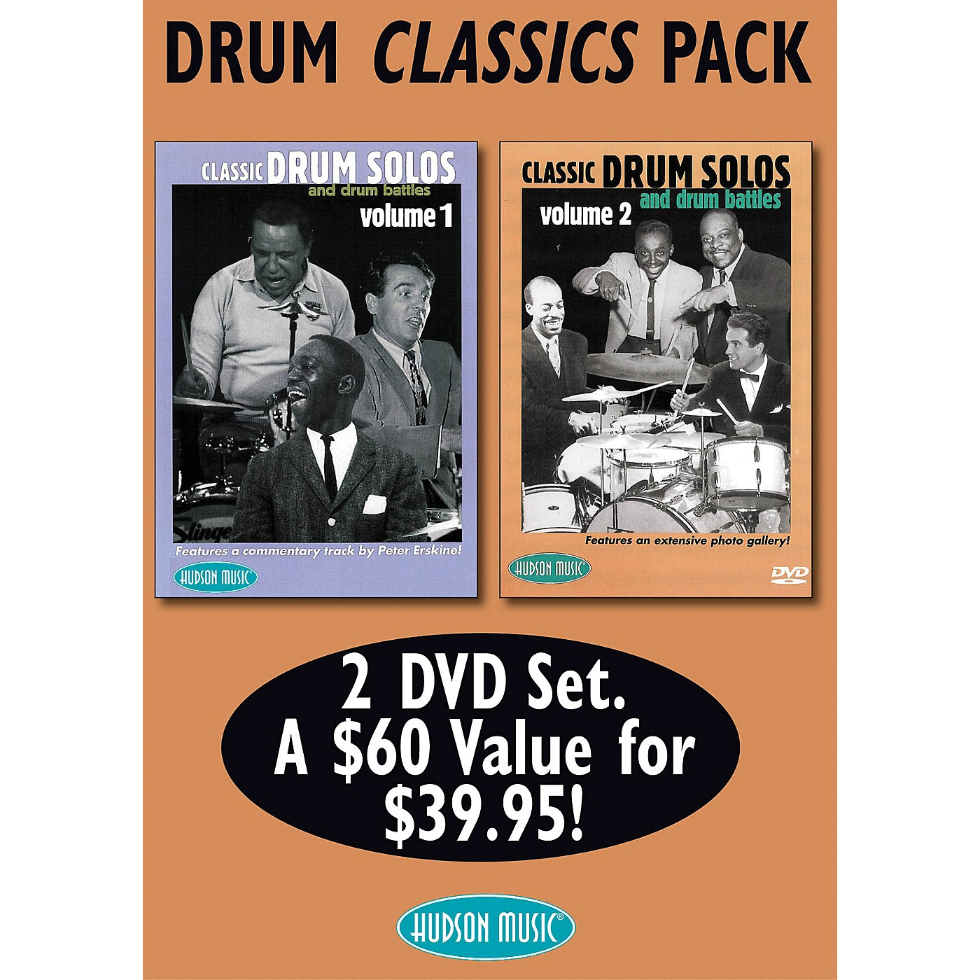 Hudson Music Drum Classics Pack 2 DVD Set - Classic Drum Solos and Drum Battles, Volumes 1 and 2 thumbnail