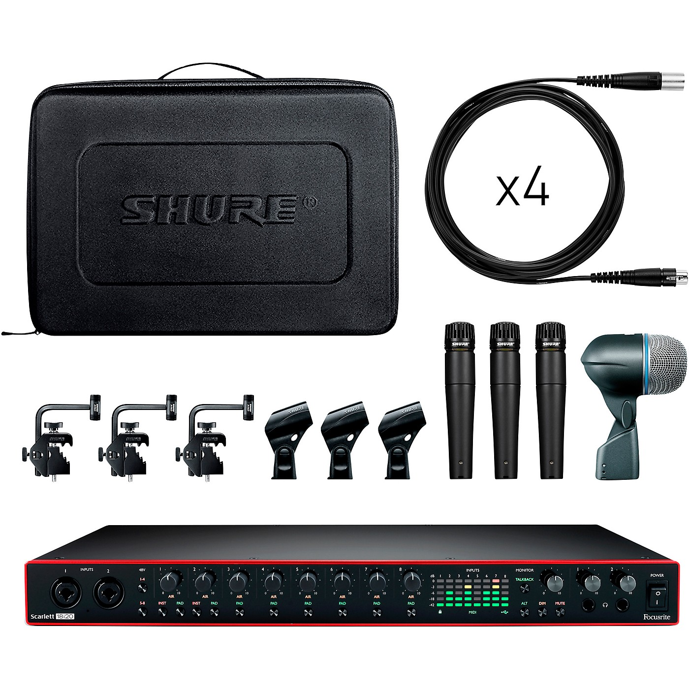Shure Drummer's Track Pack Bundle With Focusrite Scarlett 18i20 and Shure DMK57-52 Drum Microphone Kit thumbnail