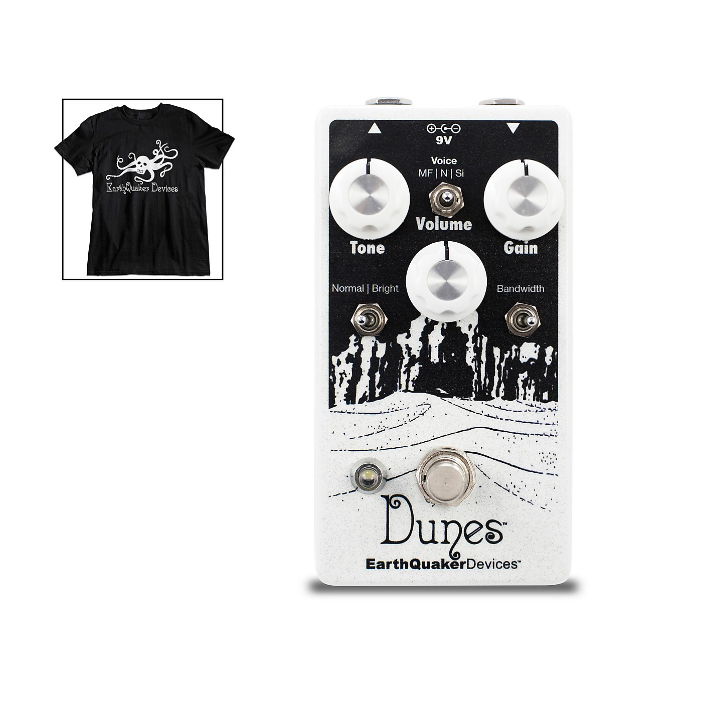 EarthQuaker Devices Dunes Overdrive Guitar Pedal V2 with Octoskull T-Shirt Large Black thumbnail