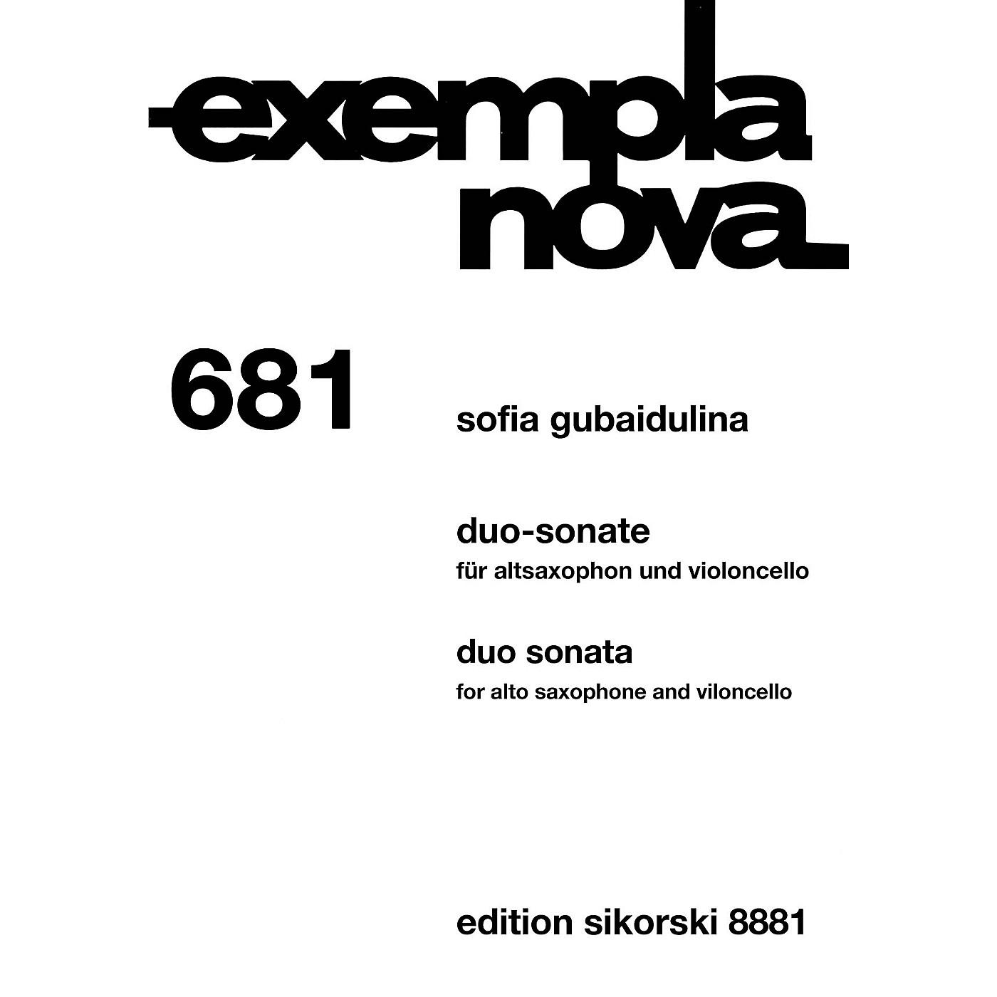 Sikorski Duo Sonata Alto Saxophone and Cello (Exempla Nova 681) Score & Parts by Gubaidulina thumbnail
