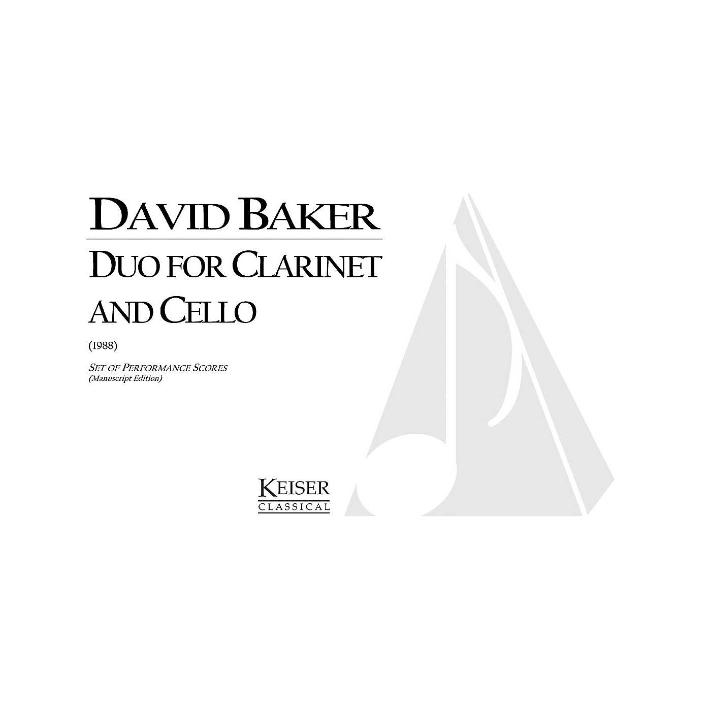 Lauren Keiser Music Publishing Duo for Clarinet and Cello LKM Music Series Composed by David Baker thumbnail