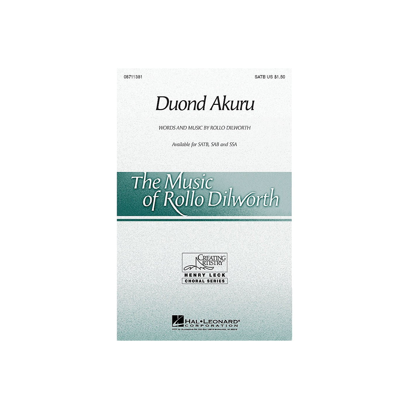 Hal Leonard Duond Akuru SATB composed by Rollo Dilworth thumbnail