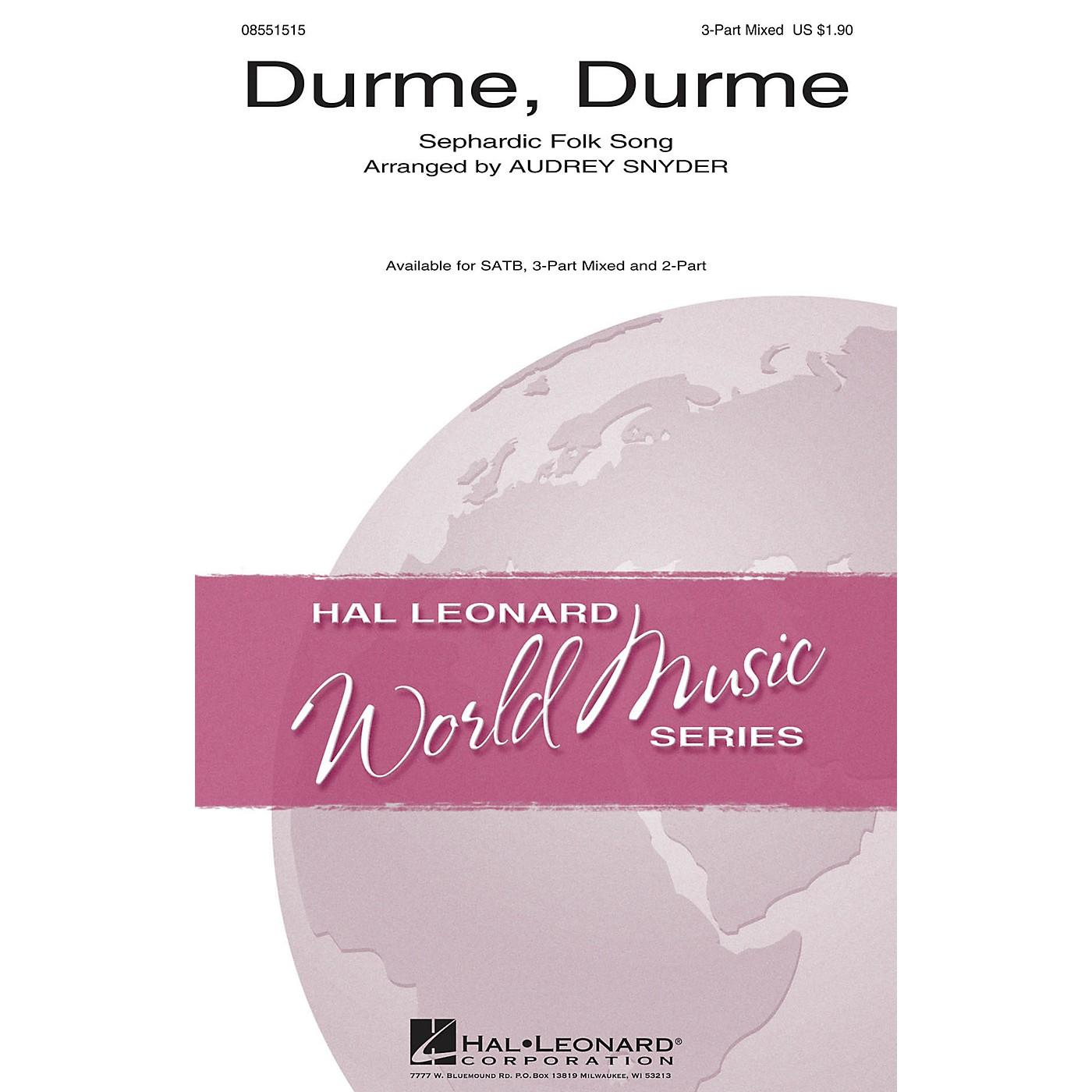 Hal Leonard Durme, Durme 3-Part Mixed arranged by Audrey Snyder thumbnail