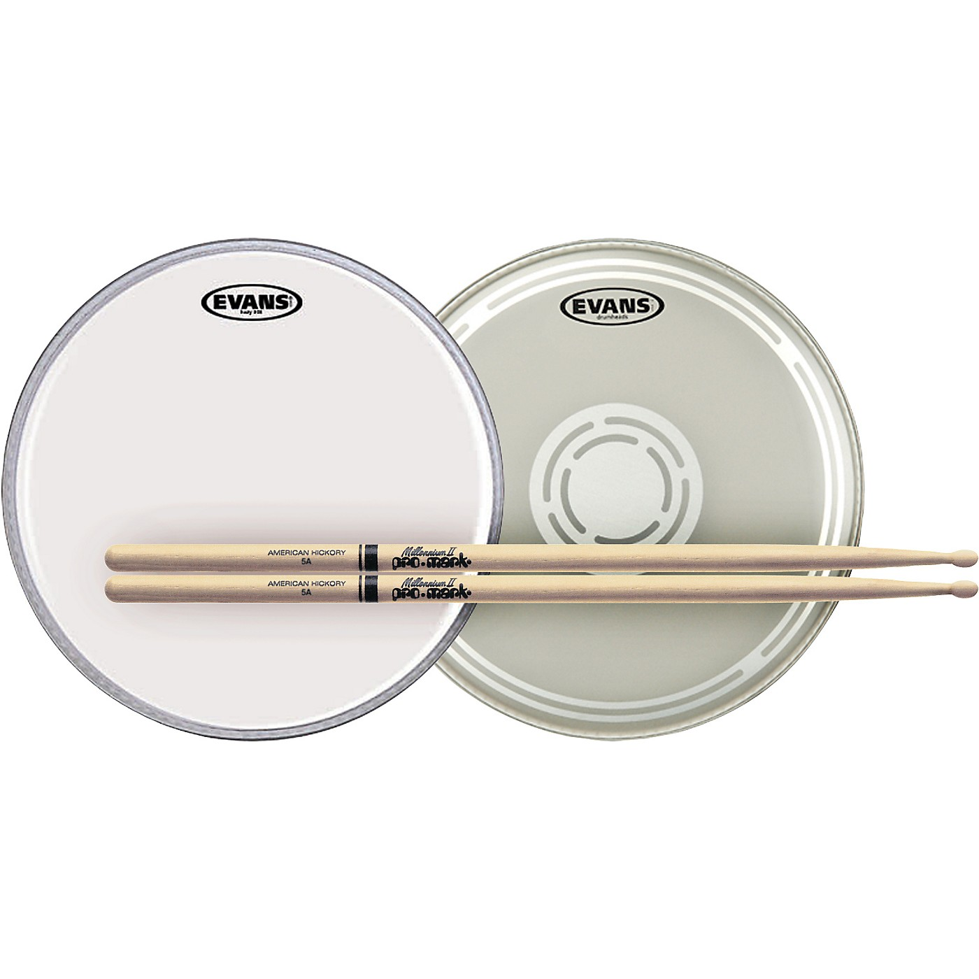 Evans EC Reverse Dot Snare Batter and Snare Side Head Pack With Free Pair of Promark Sticks thumbnail