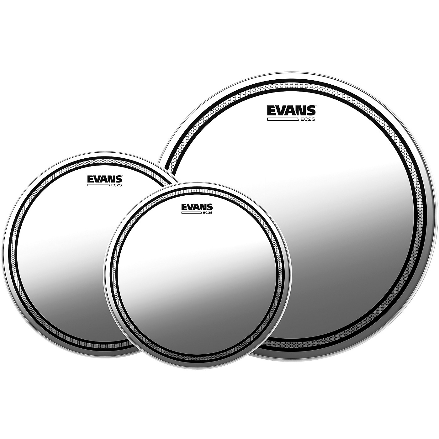 Evans EC2S Clear Tom Heads with Free 14 in. HD Dry Snare Head thumbnail