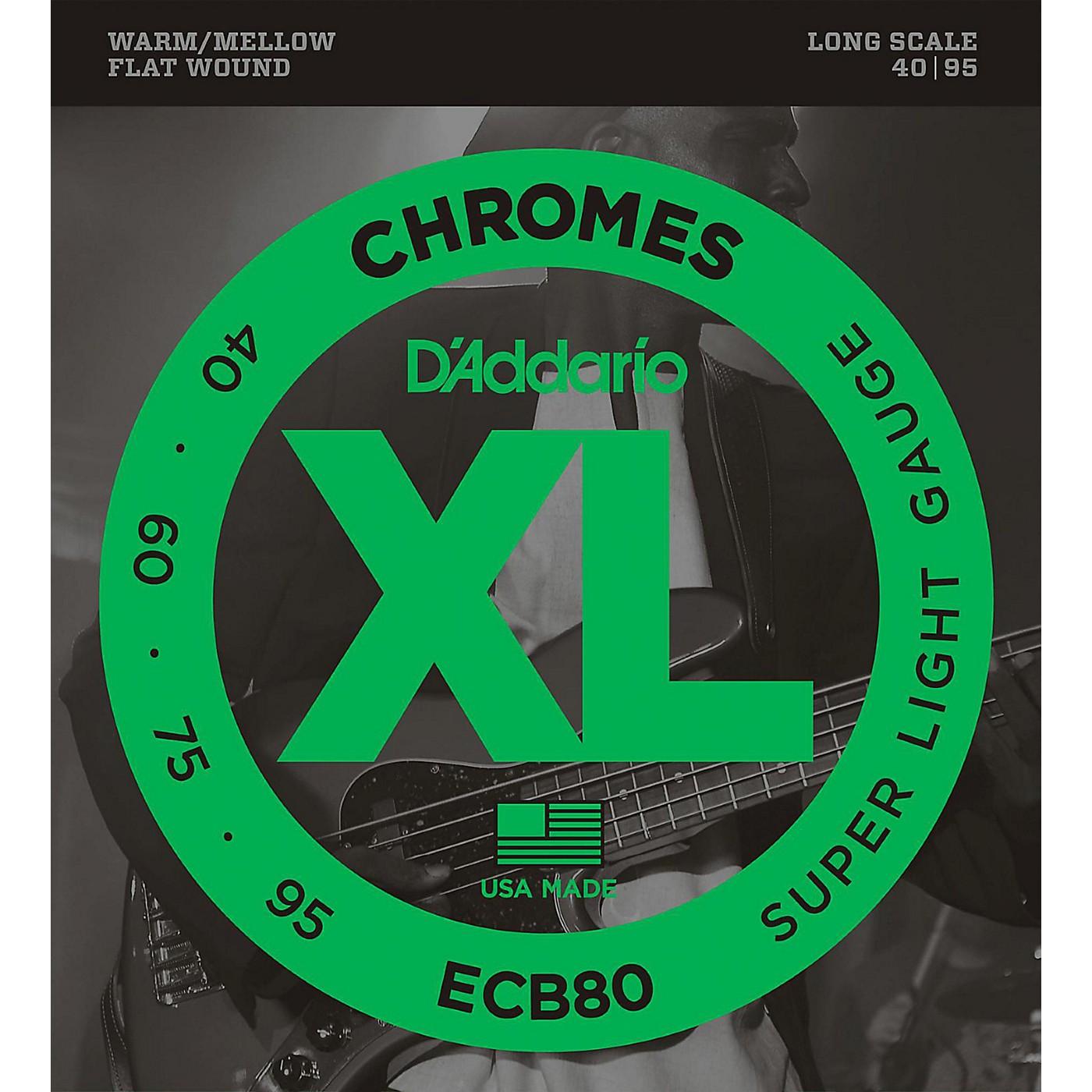 D'Addario ECB80 XL Chromes Flat Wound Bass Strings thumbnail