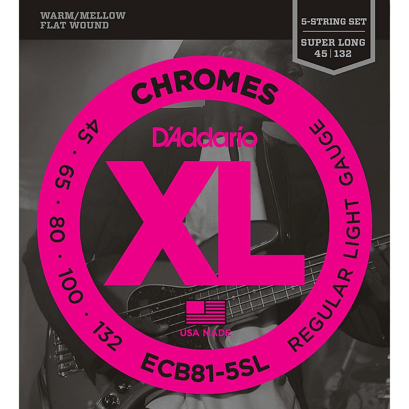D'Addario ECB81-5SL Chromes Flat Wound 5-String Bass Soft SL Strings thumbnail
