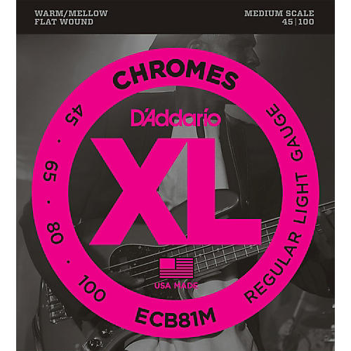 D'Addario ECB81M Chromes Flat Wound Electric Bass Strings Light Medium Scale thumbnail