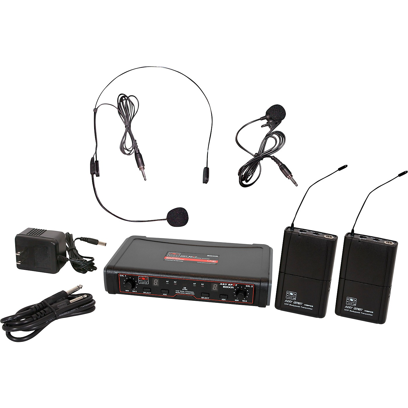 Galaxy Audio EDXR/38SV Dual-Channel Wireless Headset and Lavalier System thumbnail