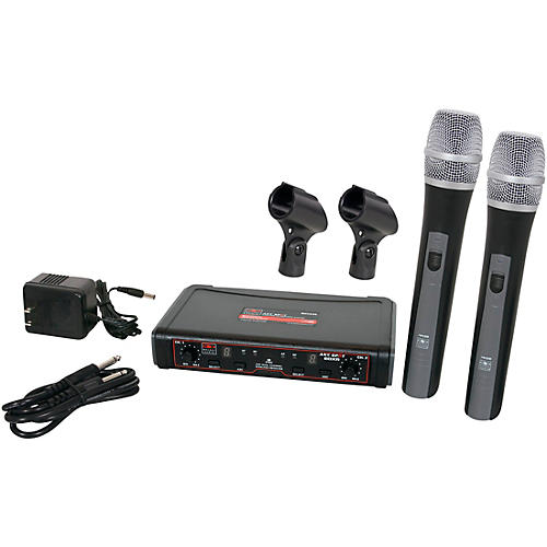 Galaxy Audio EDXR/HH38N Dual Channel Wireless Microphone System includes the EDXR Receiver and 2 HH38 Handheld Transmitters Frequency CODE N 518-542 MHz thumbnail