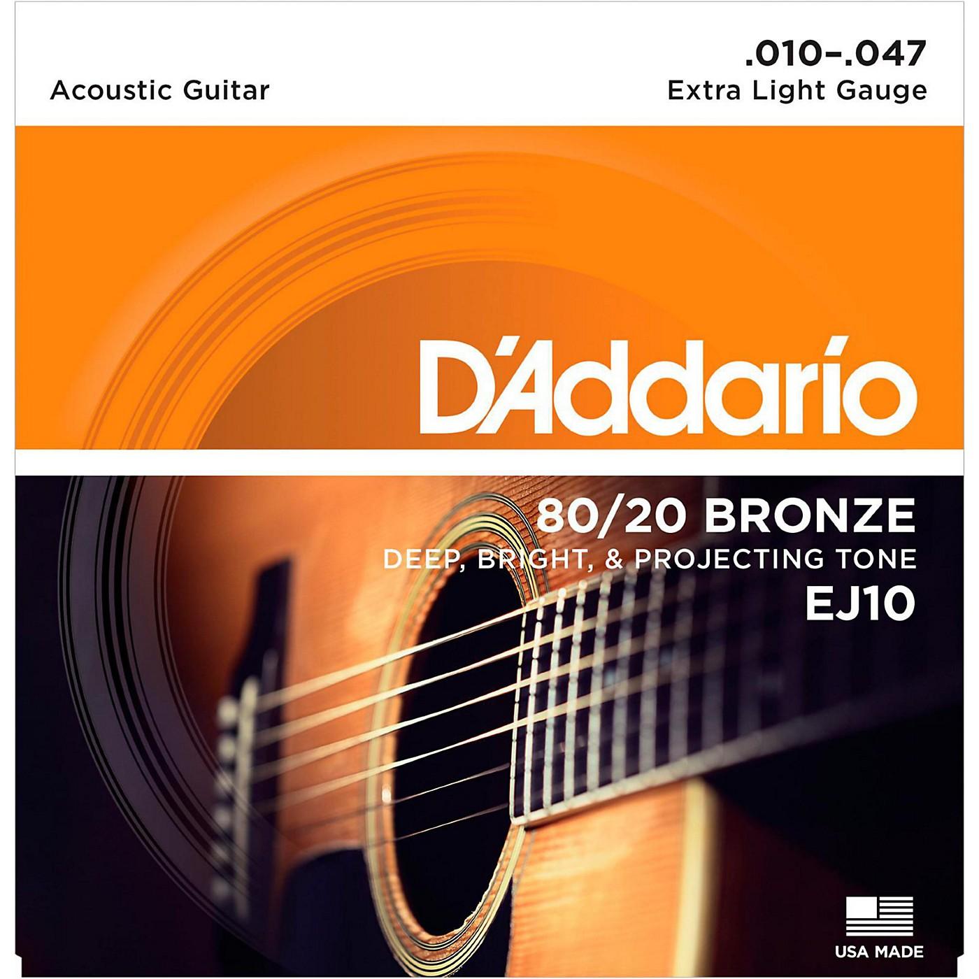 D'Addario EJ10 80/20 Bronze Extra Light Acoustic Guitar Strings thumbnail