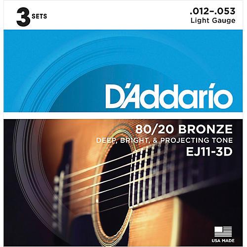 D'Addario EJ11-3D 80/20 Bronze Light Acoustic Guitar Strings 3-Pack thumbnail