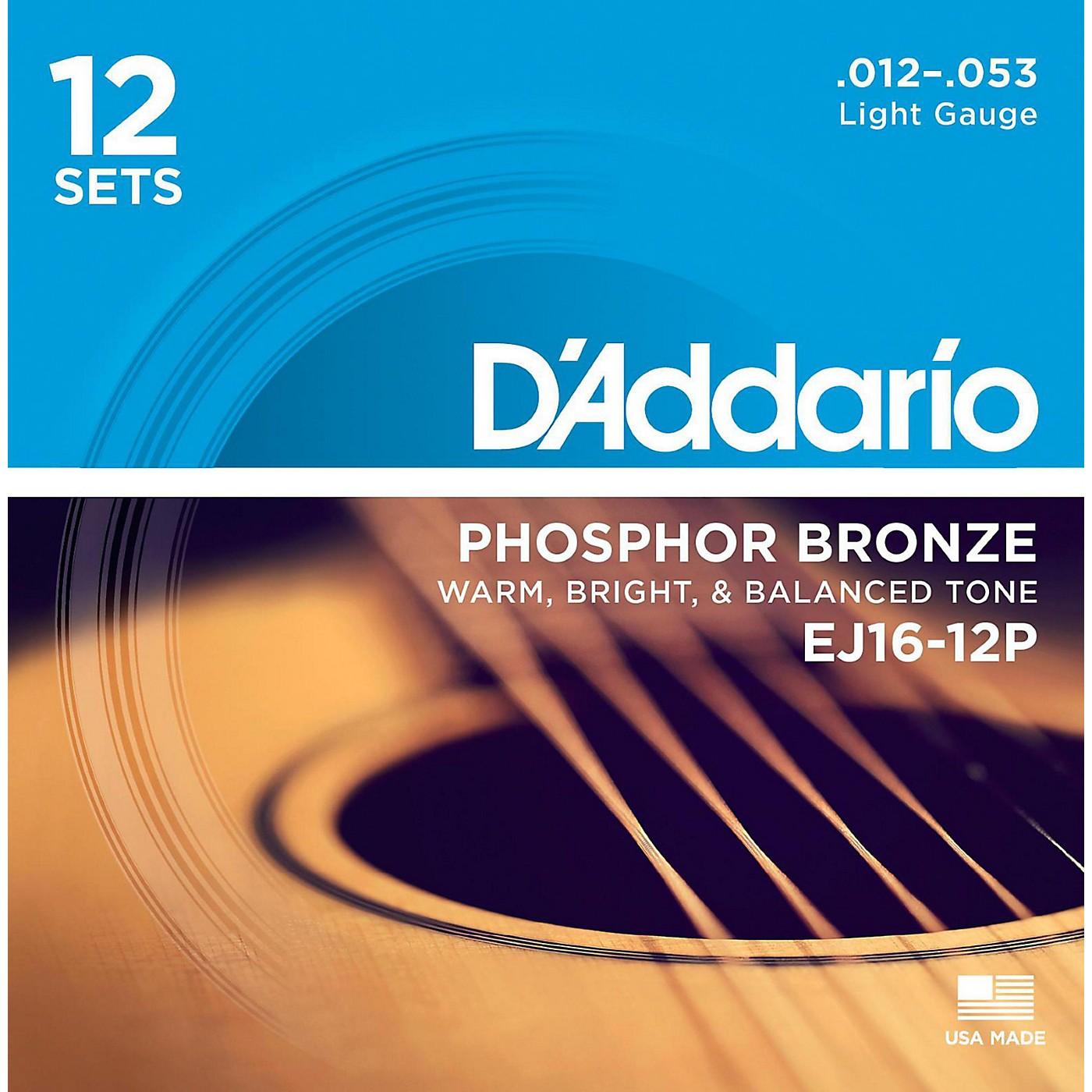 D'Addario EJ16-12P Phosphor Bronze Light Acoustic Guitar String (12-Pack) thumbnail