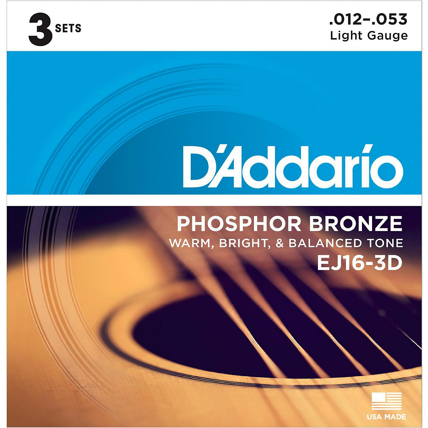 D'Addario EJ16-3D Phosphor Bronze Light Acoustic Guitar Strings (3-Pack) thumbnail