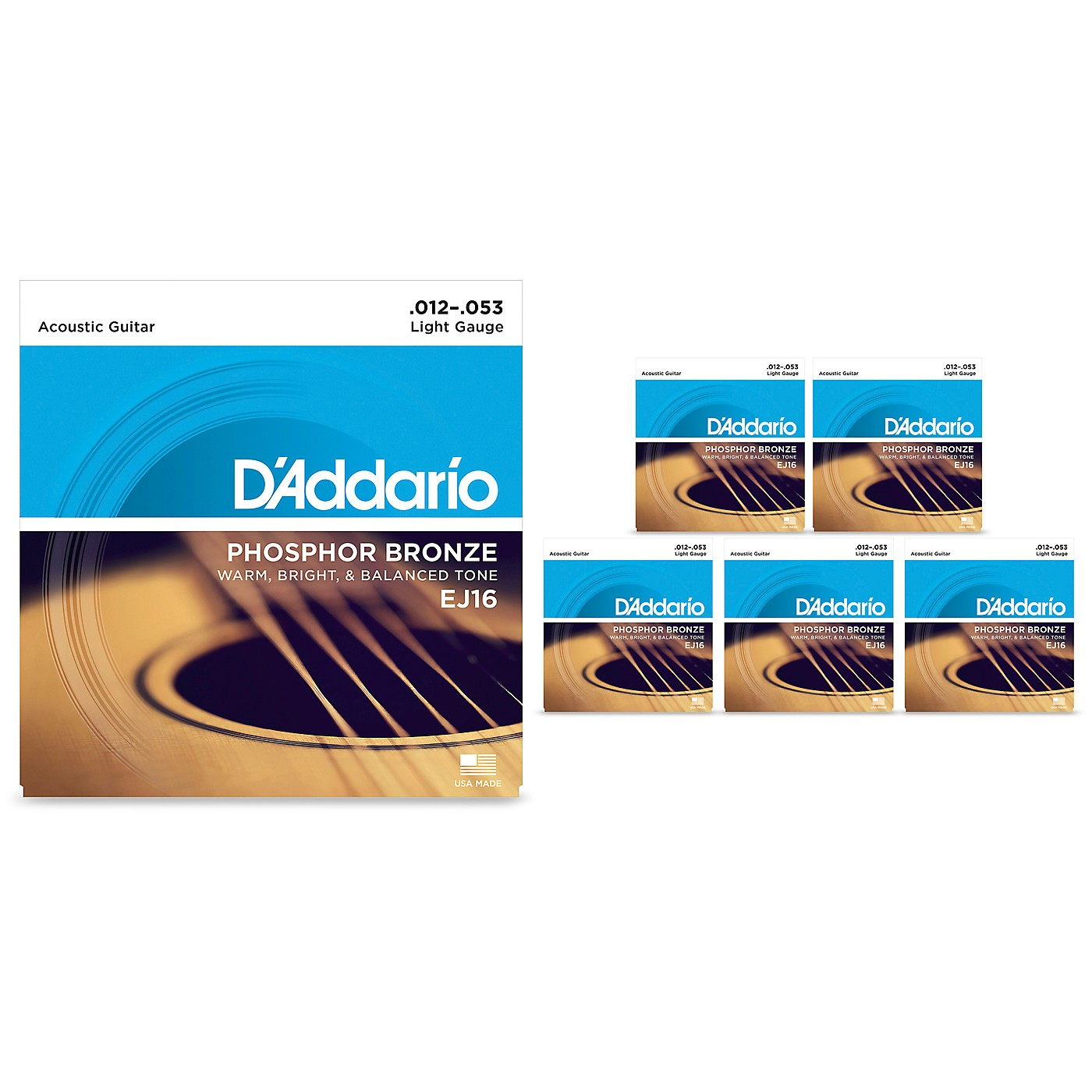D'Addario EJ16 Phosphor Bronze Light Acoustic Guitar Strings 6 Pack thumbnail