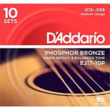 D'Addario EJ17-10P Phosphor Bronze Medium Acoustic Strings (10-Pack)
