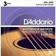 D'Addario EJ26-3D 3-Pack Custom Light Acoustic Guitar Strings