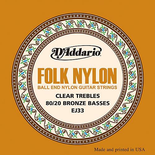 D'Addario EJ33 Folk Nylon 80/20 Bronze/Ball End Clear Treble Guitar Strings thumbnail