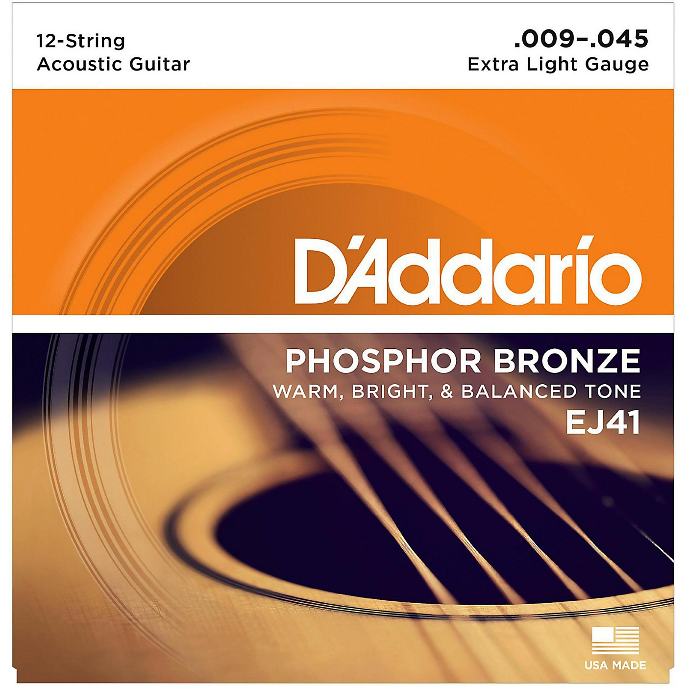 D'Addario EJ41 12-String Phosphor Bronze Extra Light Acoustic Guitar Strings thumbnail