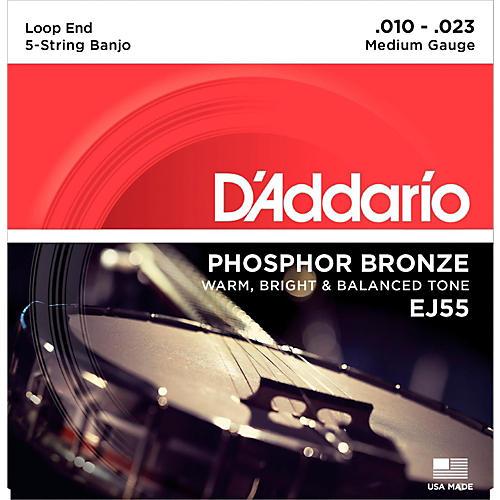 D'Addario EJ55 Phosphor Bronze Medium 5-String Banjo Strings (10-23) thumbnail