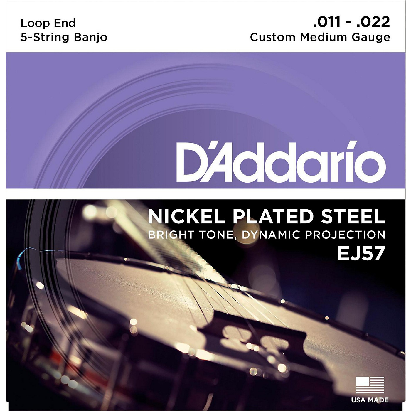 D'Addario EJ57 Nickel Custom Medium 5-String Banjo Strings (11-22) thumbnail