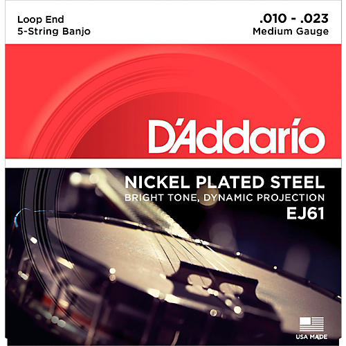 D'Addario EJ61 Nickel 5-String Medium Banjo Strings (10-23) thumbnail