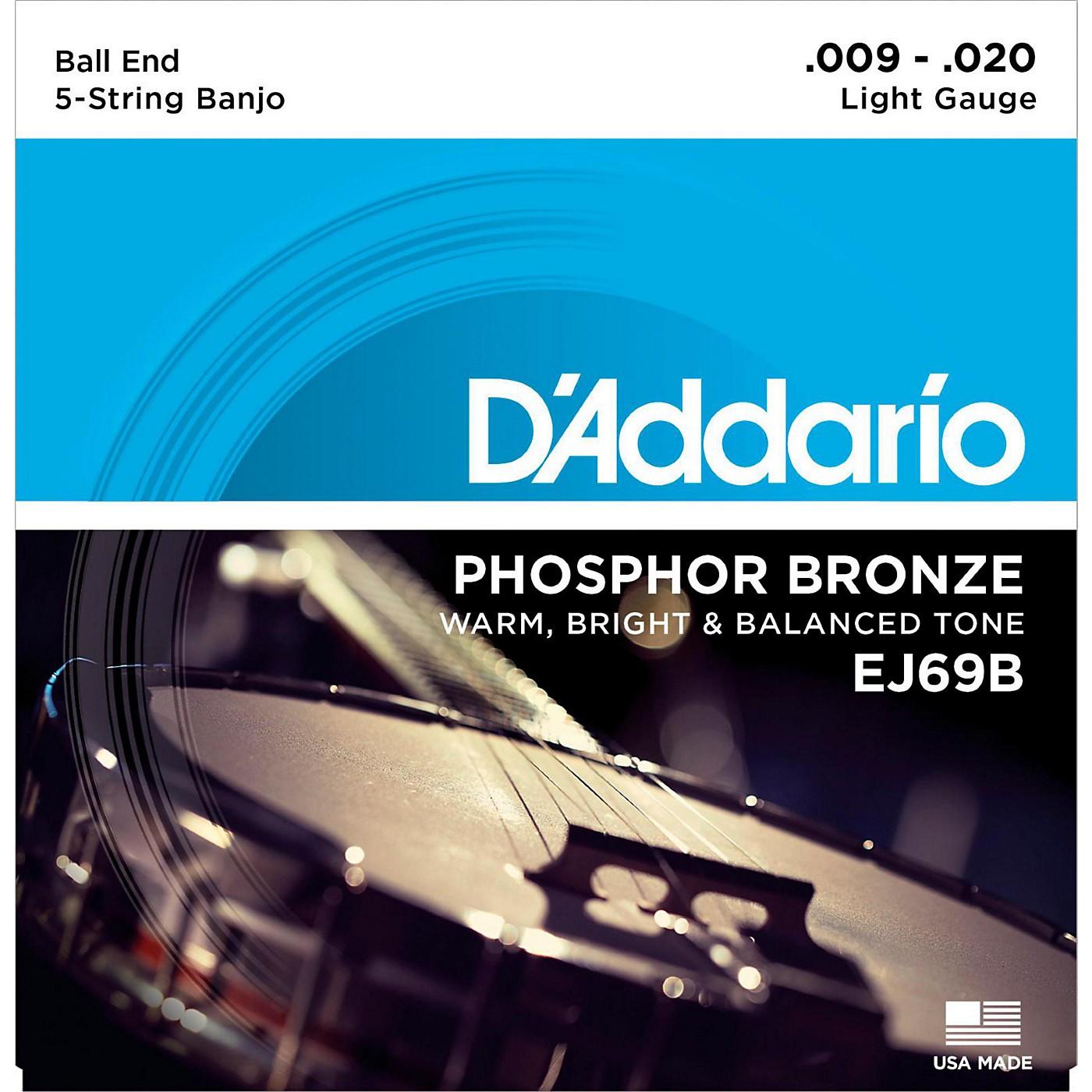 D'Addario EJ69 Phosphor Bronze Light 5-String Ball-End Banjo Strings (9-20) thumbnail