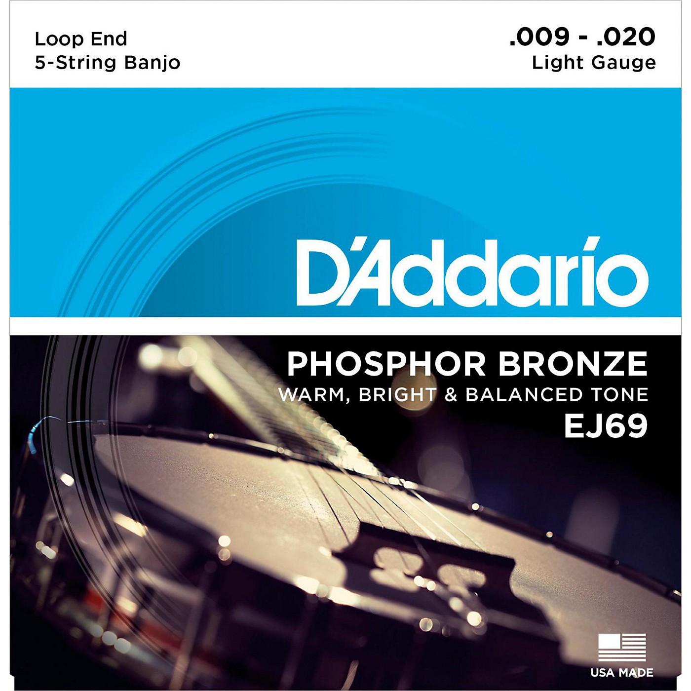 D'Addario EJ69 Phosphor Bronze Light 5-String Banjo Strings (9-20) thumbnail