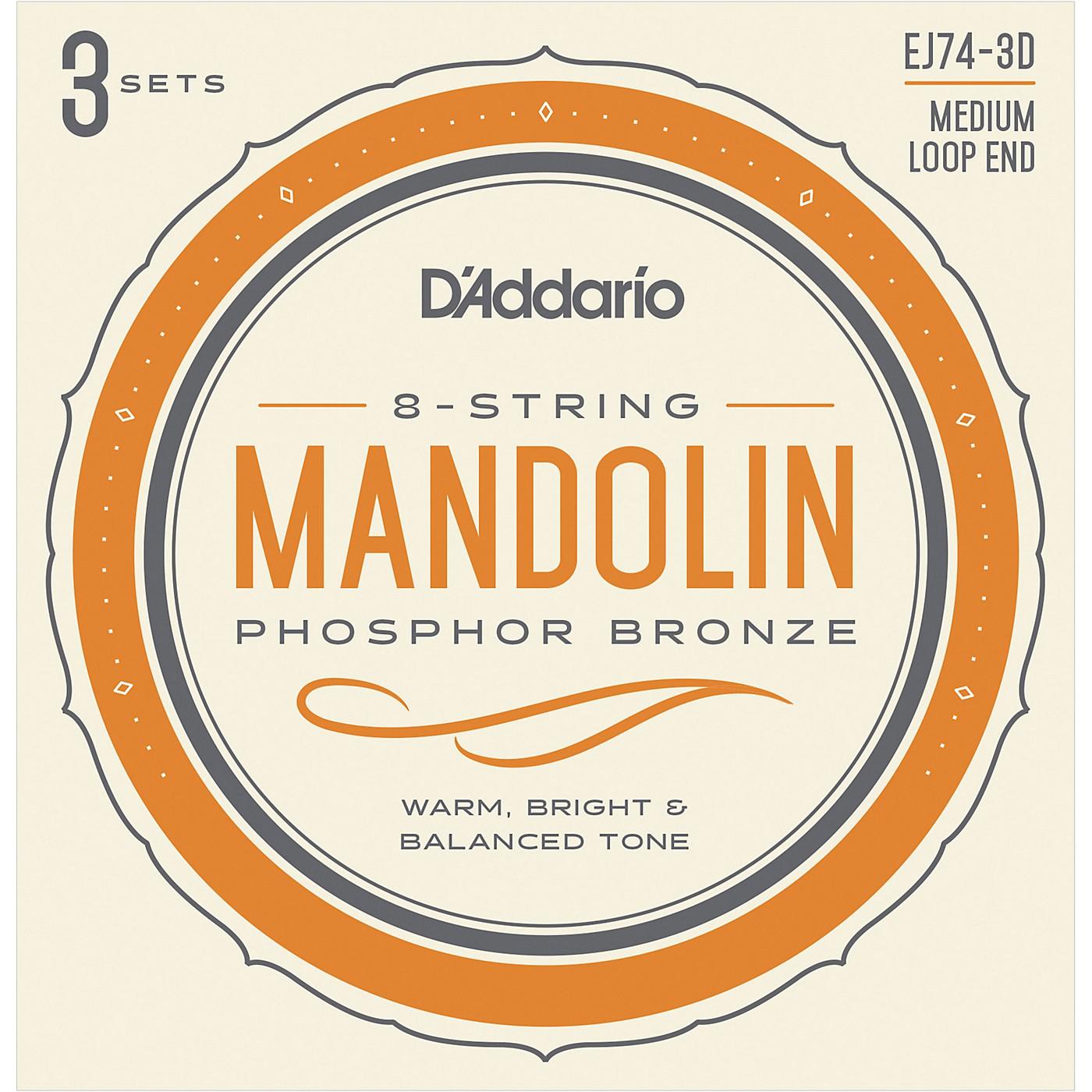 D'Addario EJ74-3D Phosphor Bronze Medium Mandolin Strings, 11-40 (3 Pack) thumbnail