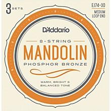 D'Addario EJ74-3D Phosphor Bronze Medium Mandolin Strings, 11-40 (3 Pack)