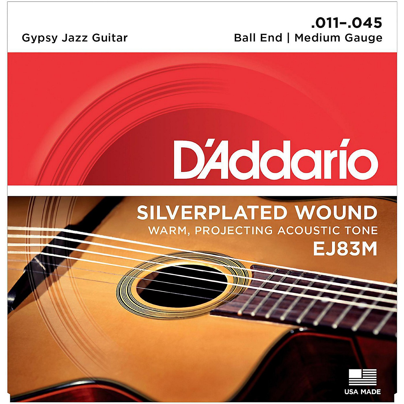 D'Addario EJ83M Gypsy Jazz Silver Wound Medium Acoustic Guitar Strings thumbnail