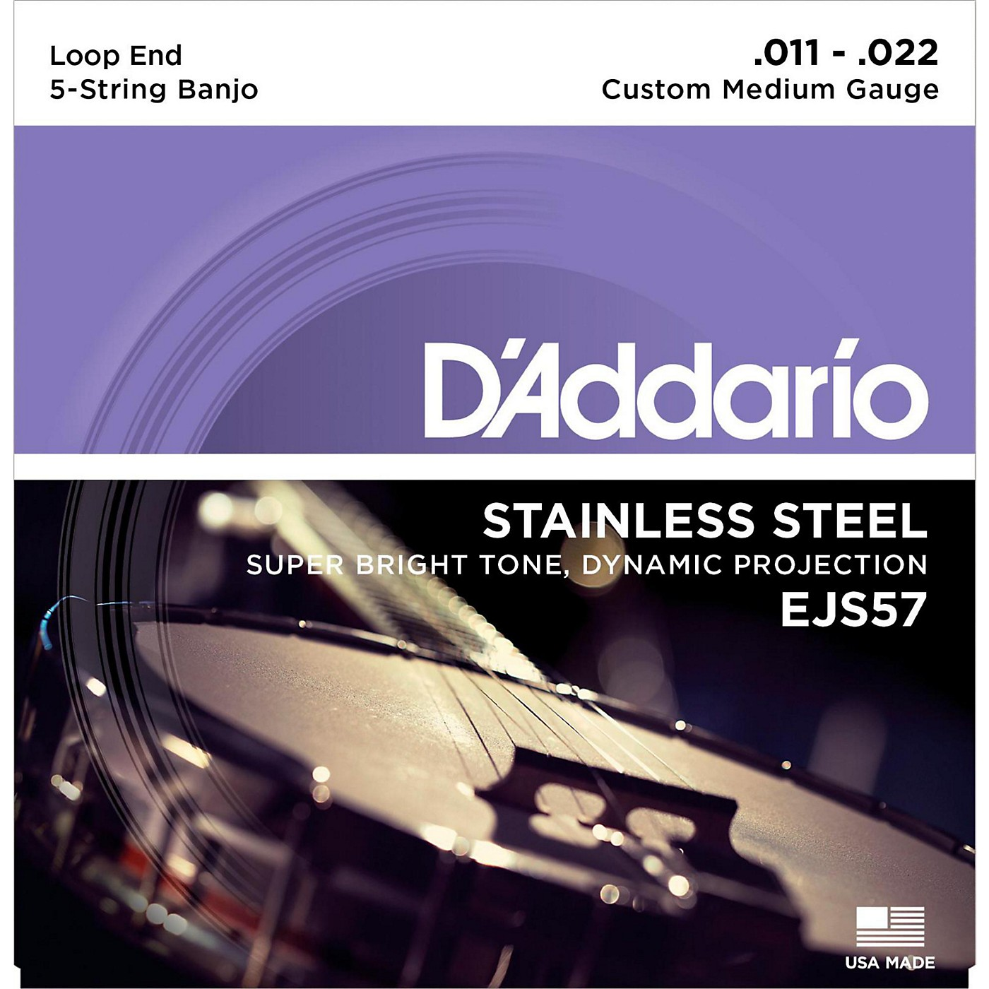 D'Addario EJS57 Stainless Steel Custom Medium 5-String Banjo Strings (11-22) thumbnail