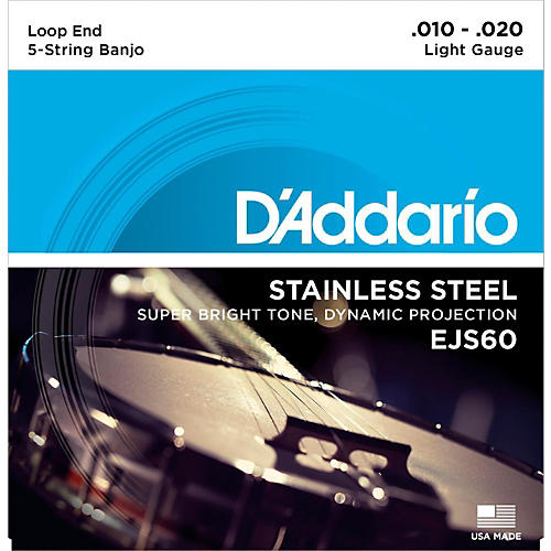 D'Addario EJS60 Stainless Steel Light 5-String Banjo Strings (9-20) thumbnail