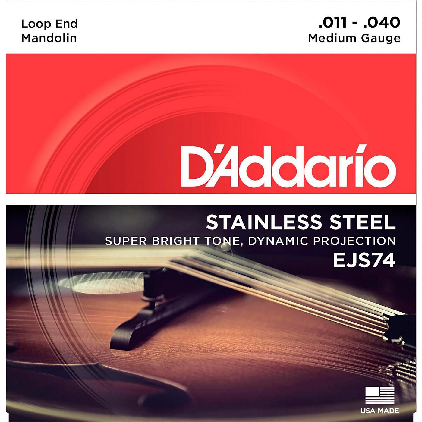 D'Addario EJS74 Stainless Steel Medium Mandolin Strings (11-40) thumbnail